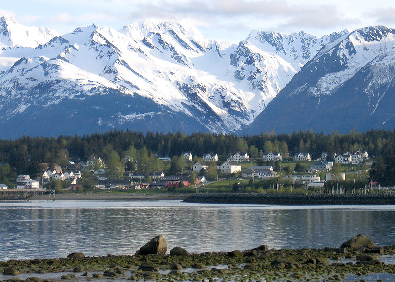 Ft. Seward across Portage Cove and the Chilkat Mountains in the background.