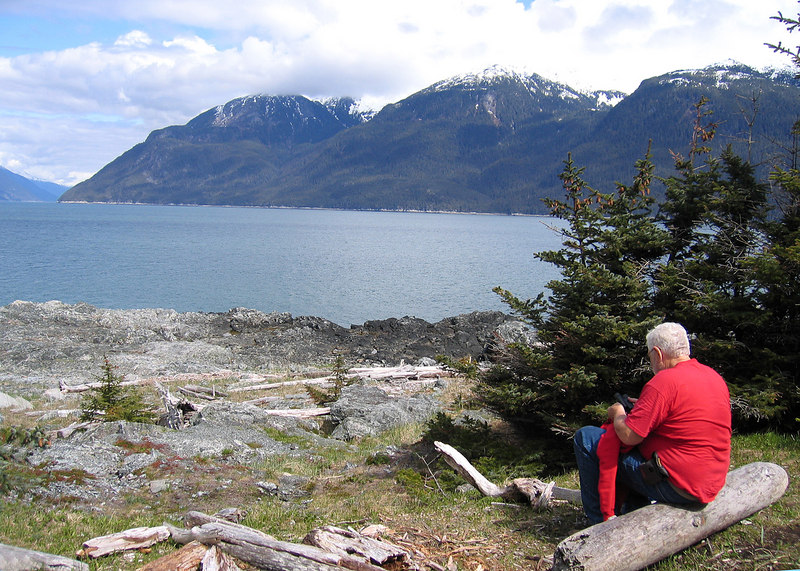 Mike enjoying view from Battery Point of Chilkoot Inlet