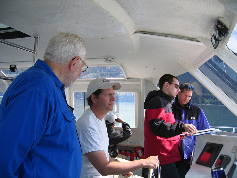 Mike talking with the owner of the Alaska Fjordlines, the catameran we took to Juneau