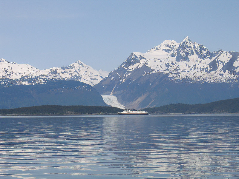 Davidson Glacier and state ferry