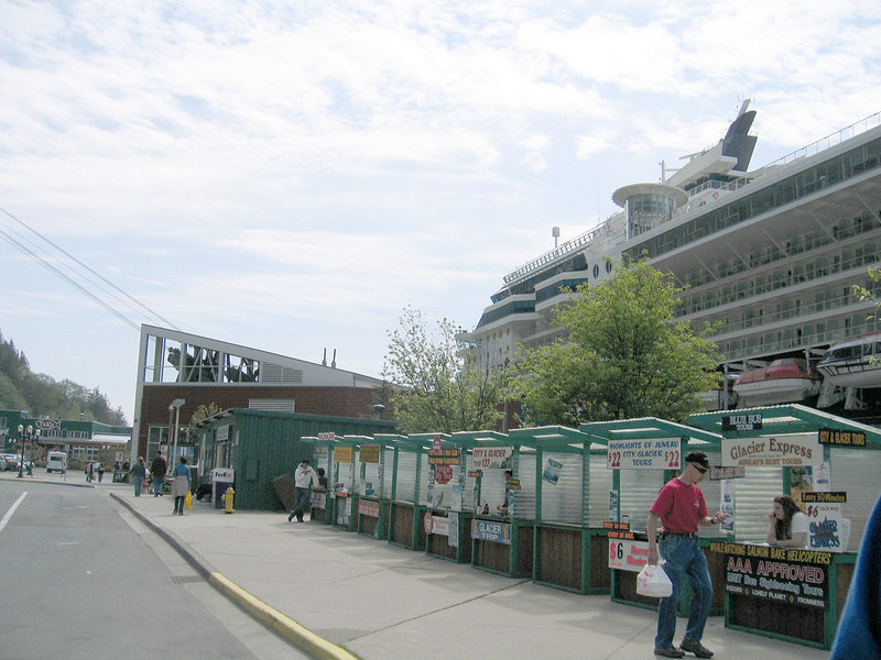 A row of tour stands greets the passengers of the cruise ships in Juneau, AK