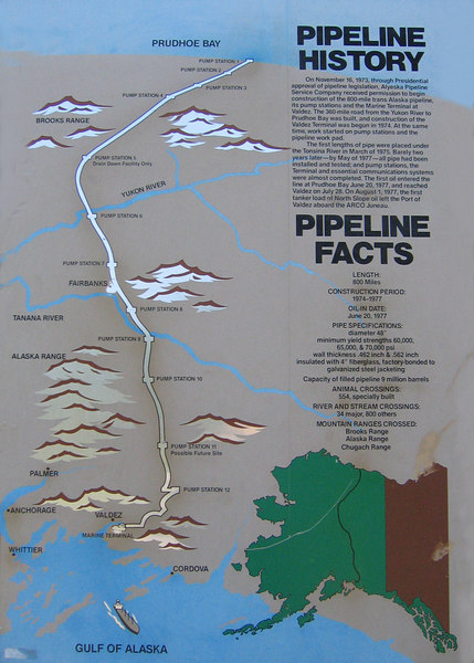 Map showing where Trans-Alaska Pipeline goes from Prudhoe Bay, AK down to Valdez, AK