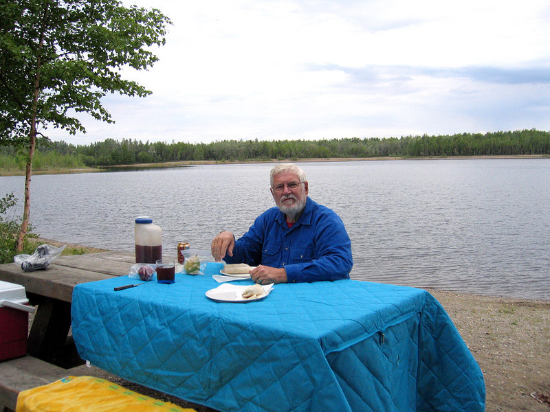 Mike having lunch along the lake at Chena River Lake Recreational Area