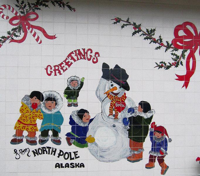 Mosaic on Santa Claus House, North Pole, AK
