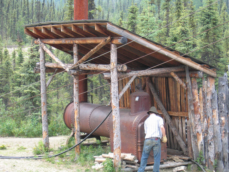 Old wood burning boiler used to operate the buckets