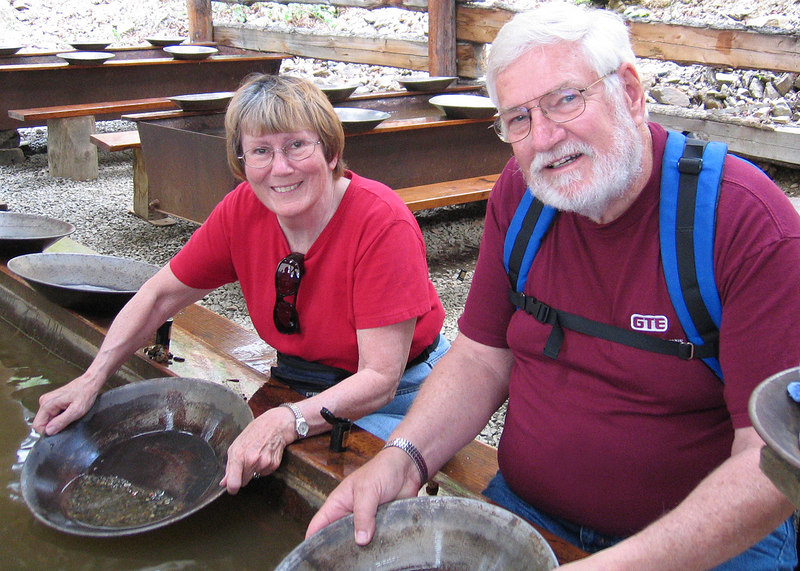 Susan and Mike panning for gold