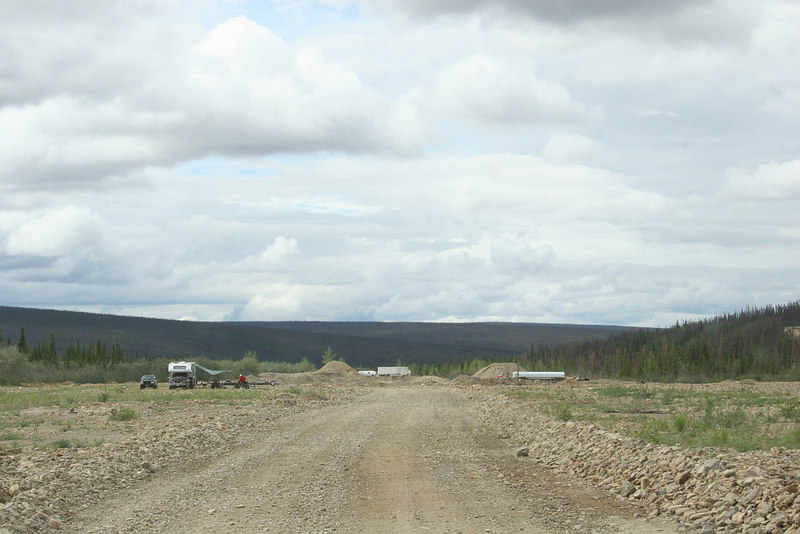 Road made on top of tailings