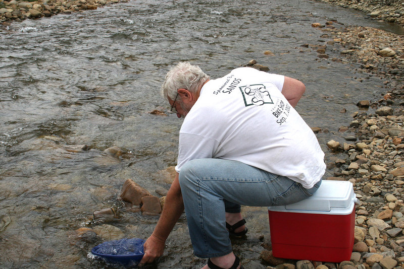 Mike panning for gold