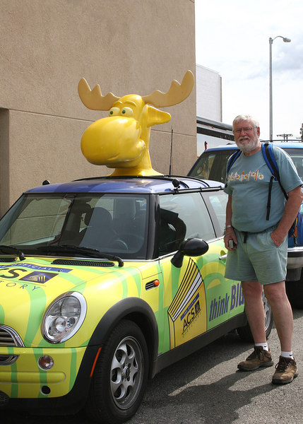 """Mike beside """"moose"""" car"""