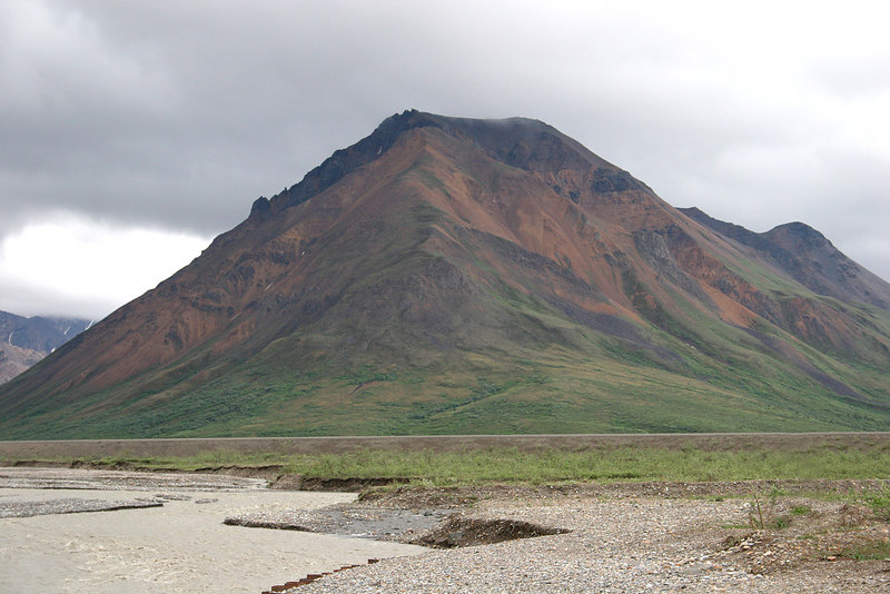 Toklat River and mountain from Toklat River Rest Stop