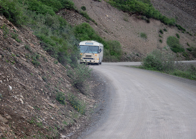 This is the road around Polychrome and shows the width of the road.  They say it is a two lane road!!!