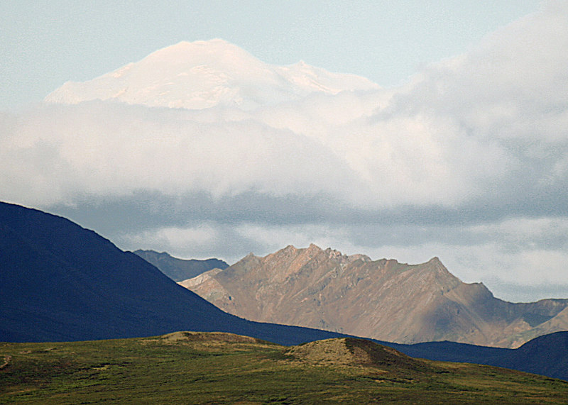 Our first glimpse of Denali.  I know it only looks like a cloud but if you look closely you will see that is the very top of Denali peaking through the clouds.