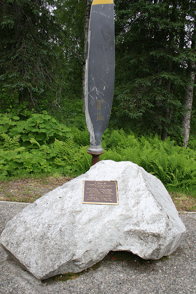 Memorial of the victims of the Air Force C-47 crash on nearby Kesugi Ridge in February 1954