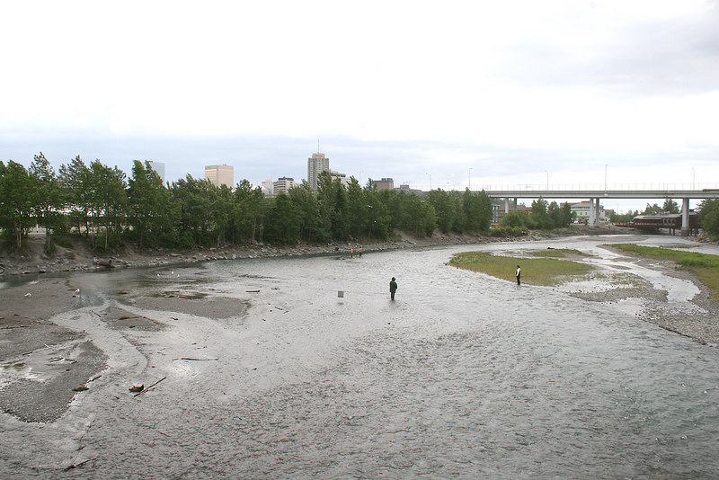 Ship Creek and Anchorage in the background