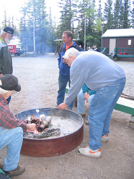 Mike roasting marshmallows