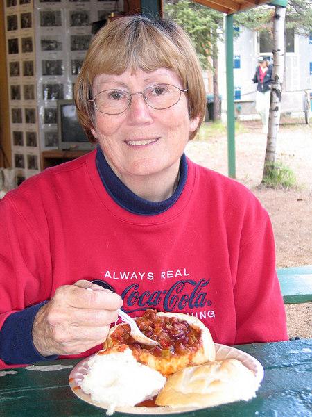Susan enjoying Reindeer chili
