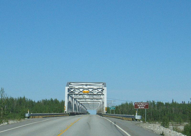 Black Veteran Memorial Bridge over Gerstle River about 125 miles south of Fairbanks, AK