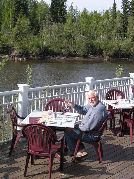 Mike relaxing on the deck of the Chena Restaurant overlooking the Chena River