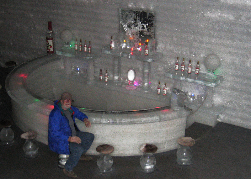 Mike sitting at the ice bar