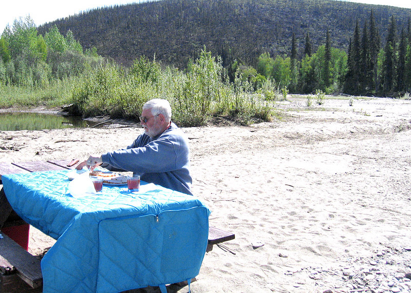 Mike at picnic table along the Chena River 48 miles from Fairbanks, AK