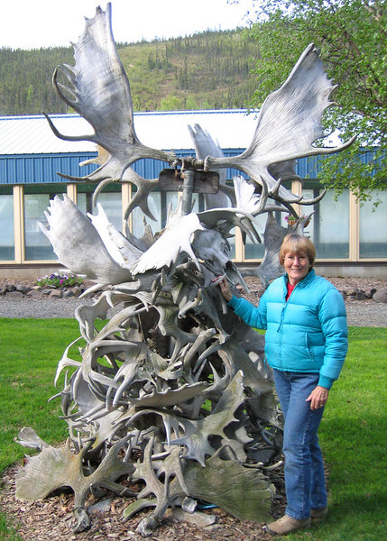 Susan with antlers at Chena Hot Springs