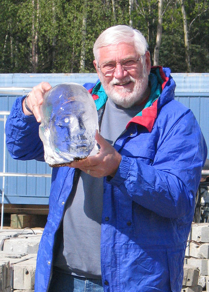 Mike holding a carved ice head