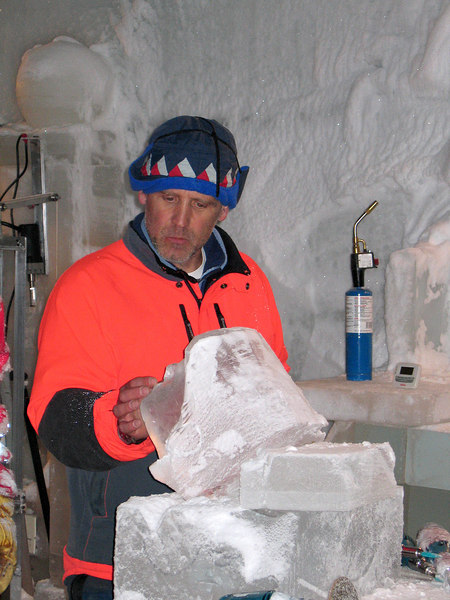 Student is one of two Hawaiian-based soldiers spending a week learning the finer techniques of ice carving