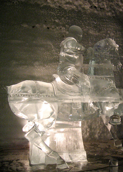 Knight ice sculpture in the Aurora Ice Hotel Museum
