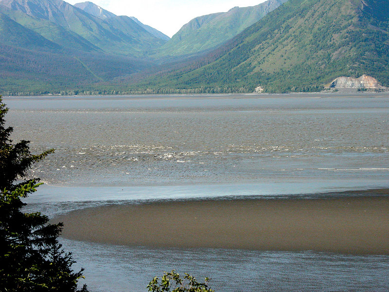 Bore tide in Turnagain Arm from near Hope, AK.  A bore tide s a tidal phenomenon in which the leading edge of the incoming tide forms a wave (or waves) of water that travel up a river or narrow bay against the direction of the river or bay's current.  Bore tides occur in relatively few locations worldwide, usually in areas with a large tidal range, typically 20 ft, between high and low water, and where incoming tides are funneled into a shallow, narrowing river or lake via a broad bay.  People have said there have been spectacular tides her although this one was a disappointment.