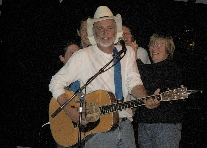 Susan on right with three others on stage with Hobo Jim, Yukon Bar, Seward, AK