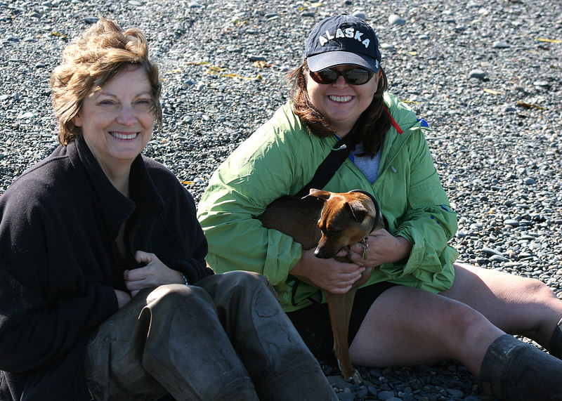 Diana, owner of the Kasilof RV Park and her friend, Cheryl at the beach at Ninilchik Village, AK