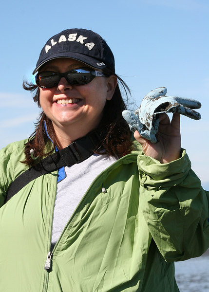Cheryl with glove she found Eagle at the beach at Ninilchik Village, AK