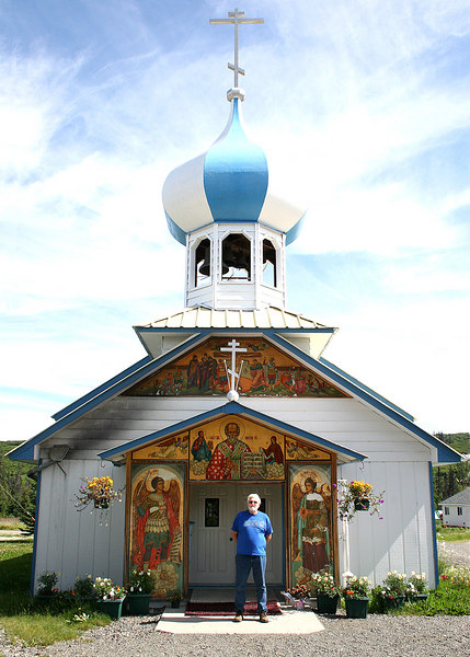 Mike in front of St. Nicholas church at Nikolaevsk, AK, off North Fork Road.