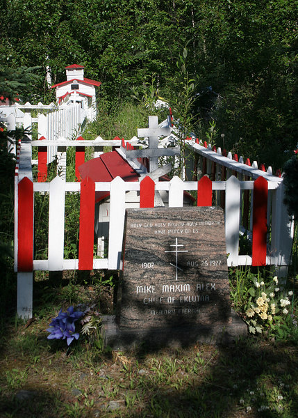 Grave of Mike Maxim Alex, 1907 - 1977.  He was one of the chiefs of Eklutna.