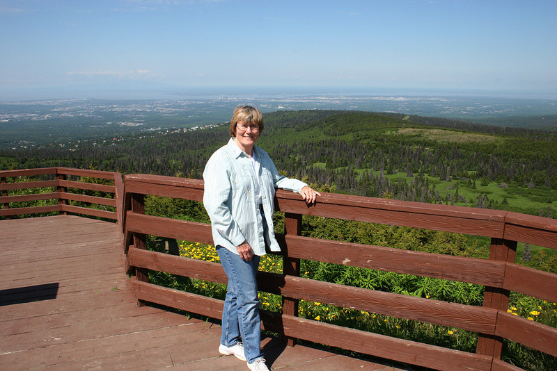 Susan at the Flattop Mountain trailhead overlook of Anchorage