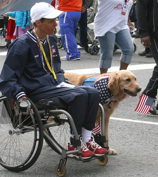 One of the veterans and his dog