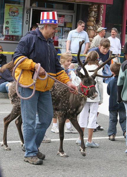 A man and his reindeer