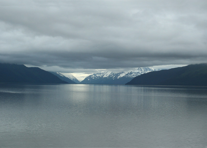 Turnagain Arm with the snow clad mountains
