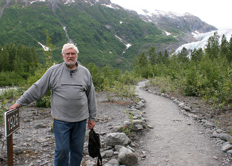 Mike at a sign showing where Exit Glacier was in 1926.  You can see the glacier in the back right.