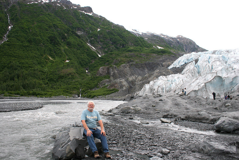 Mike at Exit Glacier and river