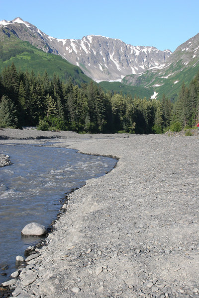 Glacier Creek right behind our campsite at Stoney Creek RV