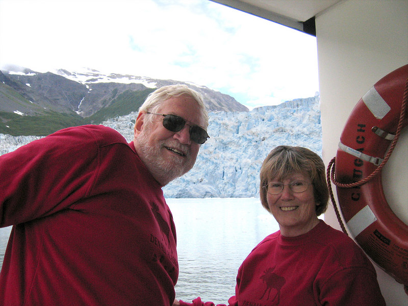 Mike and Susan with Aialik Glacier behind