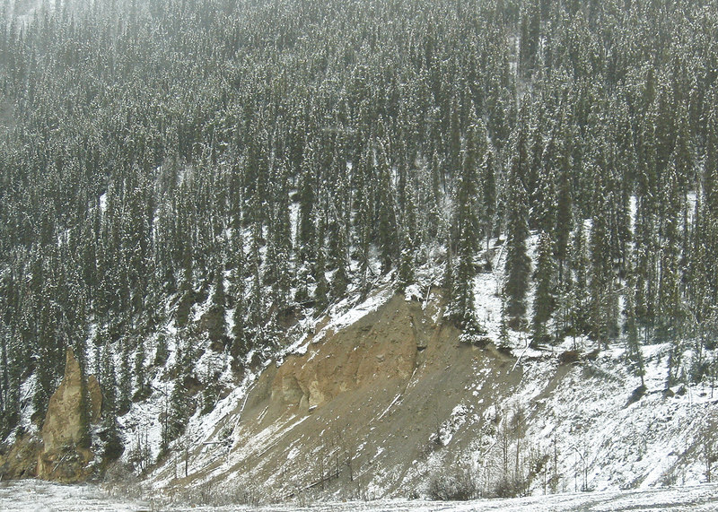About 22 miles south of Liard Hot Springs