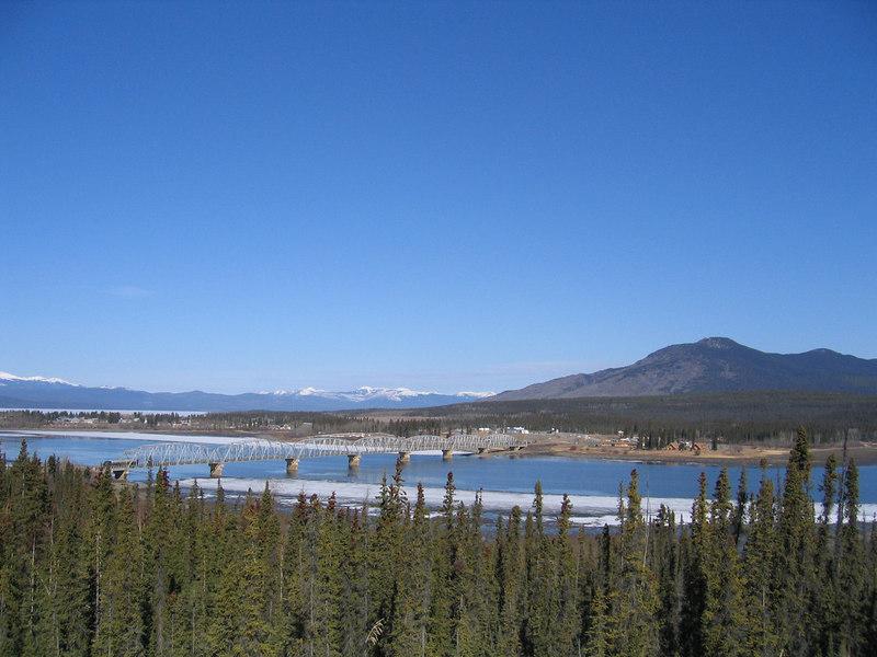 Nisutlin Bridge at Teslin.  The Nisutlin Bay Bridge is the longest water span on the Alaska Highway as it spans 1,917 feet.