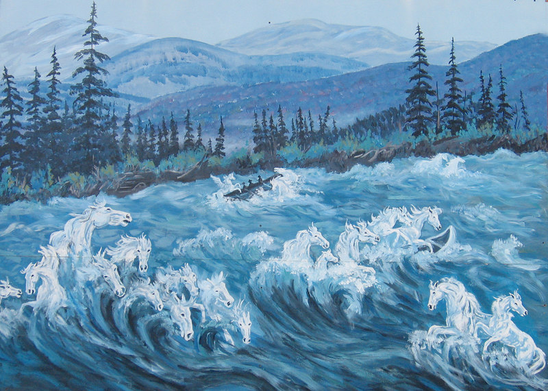 5/18/06 - McBride Museum; painting of Whitehorse Rapids.  The name Whitehorse was in common use by the late 1800s.  It is believed that the first miners in the area thought that the foaming rapids resembled white horses' manes and so named the river rapids.