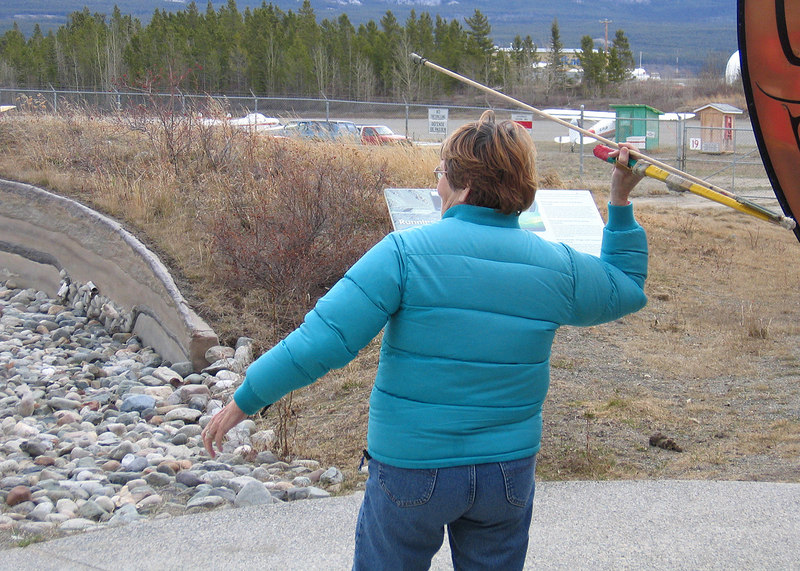 5/18/05 - Yukon Beringia Interpretive Centre; Susan using atlatl.  I, on the other hand, would starve to death!