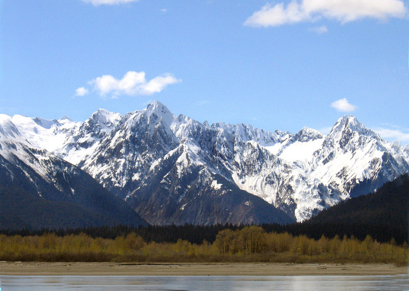 Mountains and Chilkat River about 12 miles east of Haines