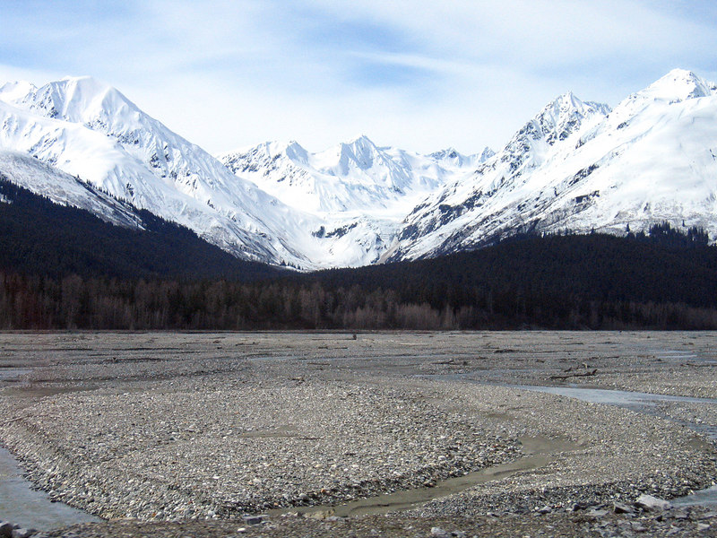 Sakasia Glacier background and Klehini River foreground about 25 miles east of Haines
