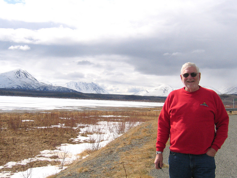 Mike at Dezadeash Lake about 40 miles west of Haines Junction