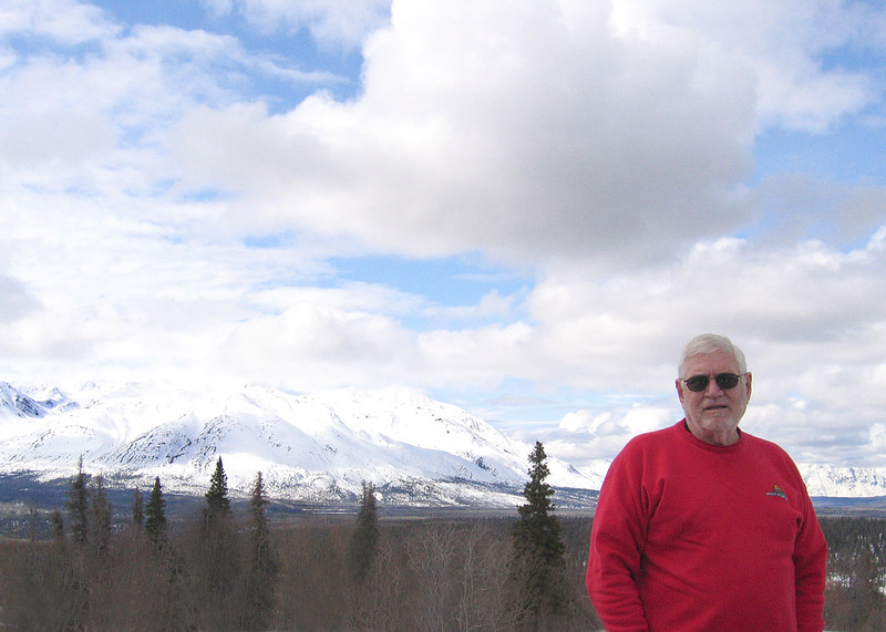 Mike with Kluane Range in background about 50 miles west of Haines Junction